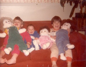 Mike, Betsy and Andy with homemade baby dolls.